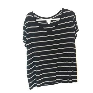 Mossimo T-shirt black and white striped xxl